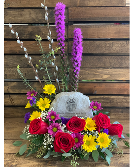 Treasured Memories Garden Stone Arrangement Flower Arrangement