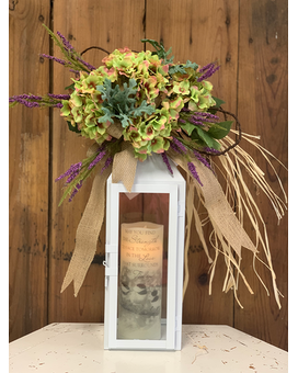 Lantern with Memorial Candle and Silk Accent Gifts