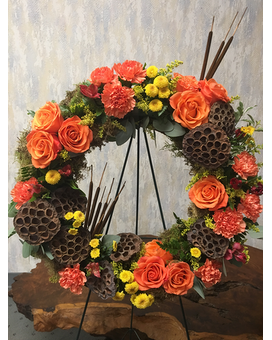 Moraine Collection Easel Wreath Funeral Arrangement