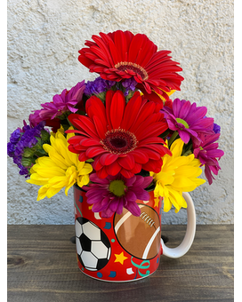 Sports Themed Mug Arrangement Flower Arrangement