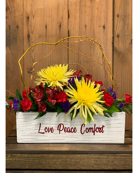 Primary Love Peace Comfort Flower Arrangement