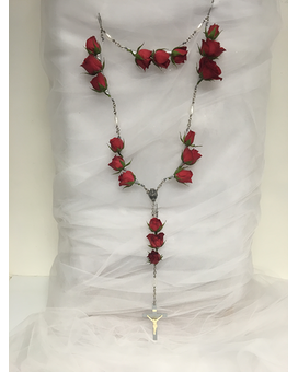 Memorial Rosary with Red Roses Funeral Arrangement