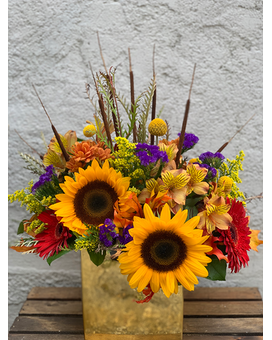 Golden Fall Flower Arrangement