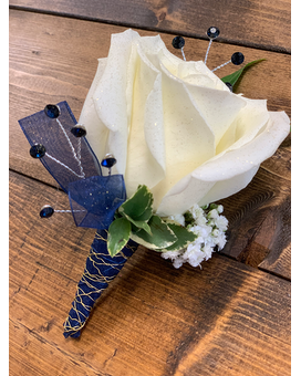 Navy Blue Blooming Boutonniere Boutonniere