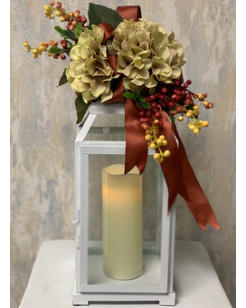 Copper Harbor Lantern Flower Arrangement