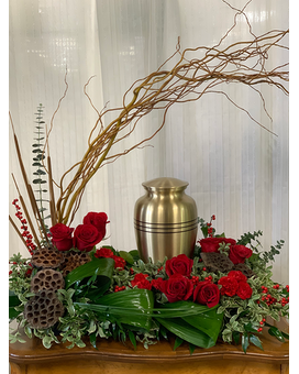 Red Moraine Memorial Urn Arrangement Funeral Arrangement