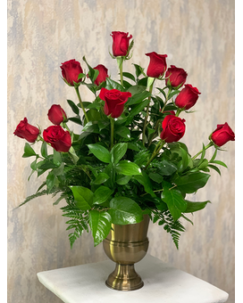 Roses in Gold Urn Flower Arrangement