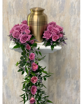 Ring of Lavender Roses Urn Arrangement Funeral Arrangement