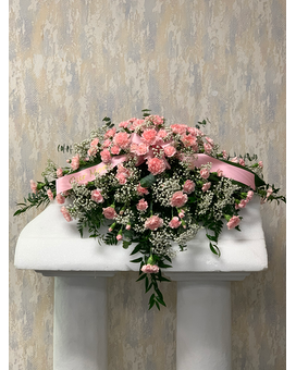 Pink Carnation Casket Spray Funeral Casket Spray Flowers