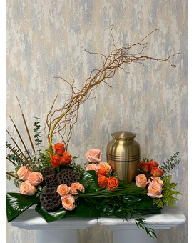 Shades of Orange Urn Arrangement Flower Arrangement
