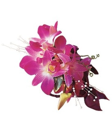 Fuchsia Orchids Wristlet Flower Arrangement