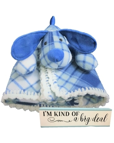 Made in NH Baby Boy Stuffed Dog and Blanket Gifts