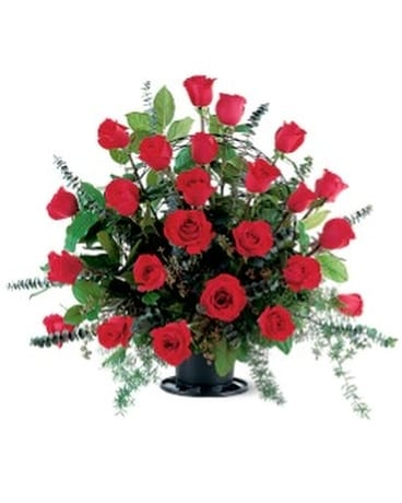 Blooming Red Roses Basket Basket Arrangement
