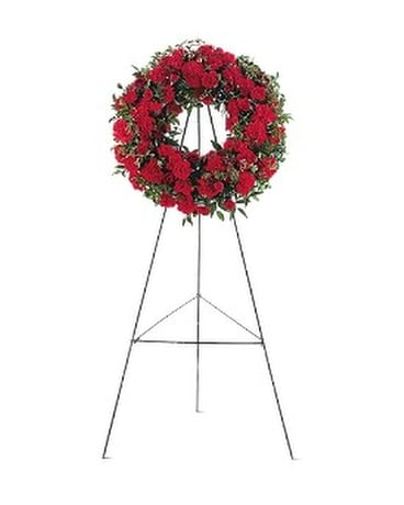 Red Regards Wreath Funeral Arrangement