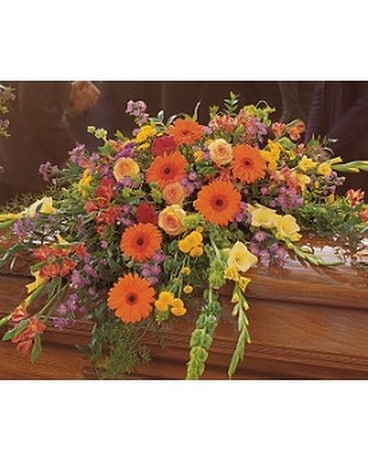 Summer Sentiments Casket Spray Funeral Casket Spray Flowers