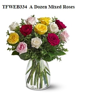 Dozen Mixed Medium Stem Roses Flower Arrangement