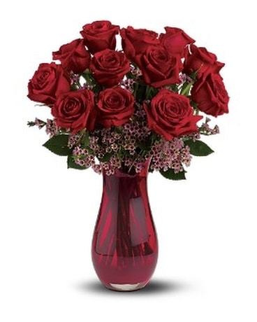 Ruby Red Roses Flower Arrangement