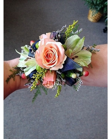 Peach and Green Wrist Corsage Corsage