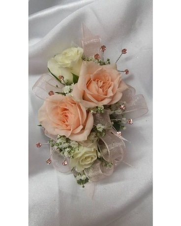 peach and cream spray rose wrist corsage Corsage