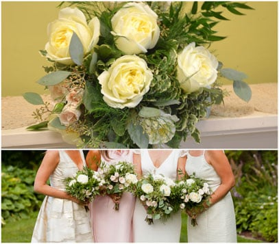 NY Included A Loose Assortment Of Beautiful White Polo Roses Pale Pink Spray Seeded Eucalyptus Variegated Pit And Various Greeneries