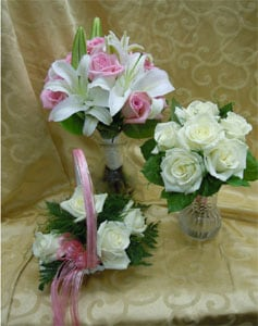 Chester white cabbage rose and white stephanotis bridesmaid bouquet hand tied bouquet of purple lisianthus pink carnations hot pink roses hot pink gerbera mightylinksfo