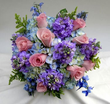 Hand Tied Bridal Bouquet Of Blue Hydrangeas Pink Roses Delphinium Lavender Stock And Solidaster