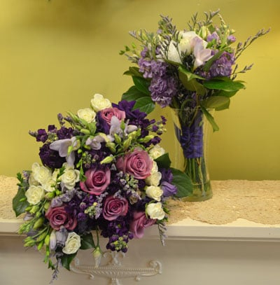 Chester the bridal bouquet included lavender roses white spray roses deep purple stock purple lisianthus lavender freesia and caspia mightylinksfo
