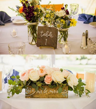 Daisies And Wax Flower Placed In Pee Mason Jars The Head Table Had An Arrangement Of Pink White Peonies A Handmade Wooden Box