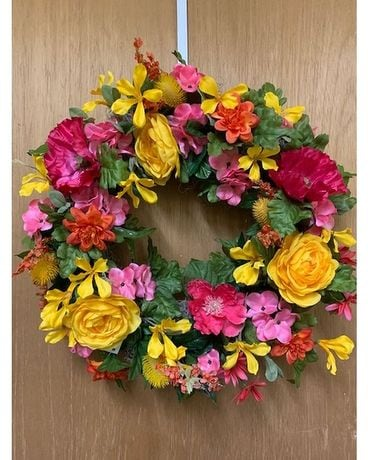 Colorful Silk Floral  Wreath Dried Flowers