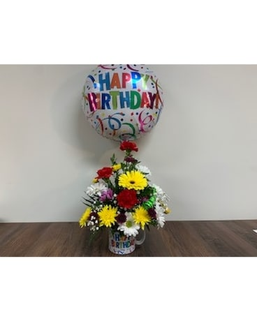 Birthday Mug w/Balloon Flower Arrangement