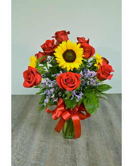 Roses and Sunflowers Flower Arrangement