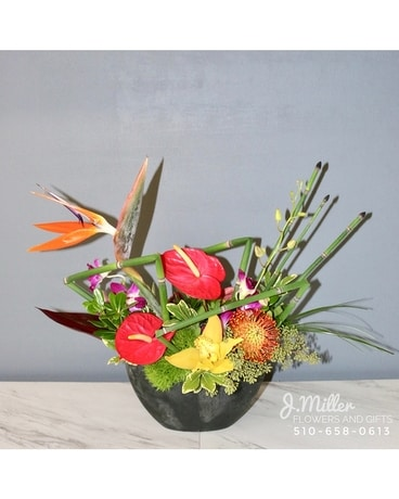 Tropical Arrangement in Dark Oval Container Flower Arrangement