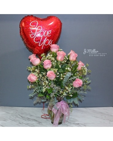 Gift Combo: One Dozen Roses and One Mylar Balloon