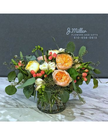 Peach and Berries Flower Arrangement