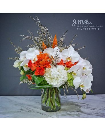 Pop of Orange Flower Arrangement