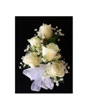 Romantic roses corsage in white in gaithersburg md flowers world romantic roses corsage in white flower arrangement mightylinksfo