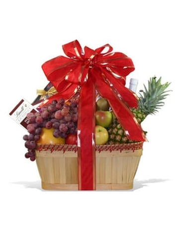 Fruit And Chocolate Lovers Basket Flower Arrangement