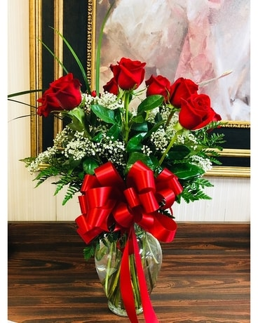 Premium Long Stem Red Roses Flower Arrangement