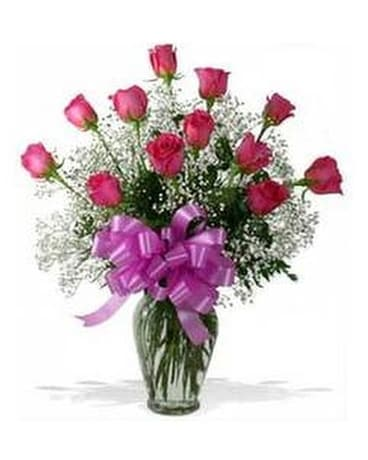 Premium Pink Long Stem Roses Flower Arrangement