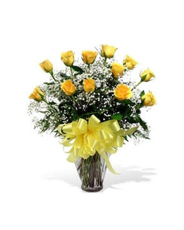 Yellow Long Stem Premium Roses Flower Arrangement