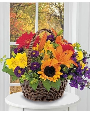 Indian Summer Basket Of Blooms Flower Arrangement