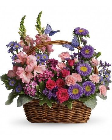 Country Basket of Blooms Flower Arrangement