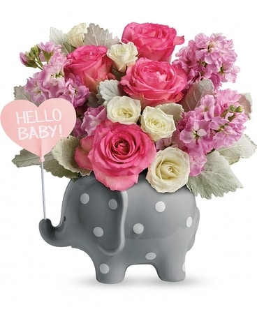 Hello Sweet Baby - Pink Flower Arrangement