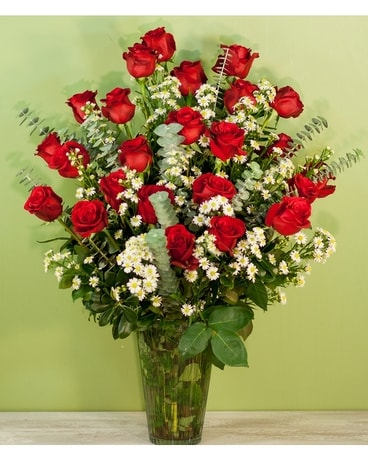 Two Dozen Red Roses with Premium Filler