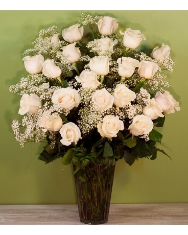 Two Dozen White Roses with Babies Breath