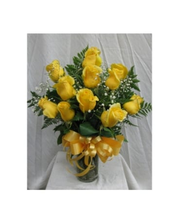 Dozen Roses - Yellow Flower Arrangement