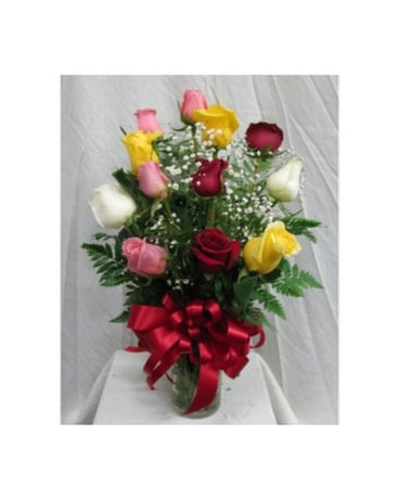 Dozen roses assorted red yellow pink and white in san diego ca dozen roses assorted red yellow pink and white flower arrangement mightylinksfo