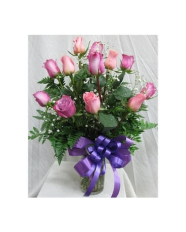 Dozen Roses - Assorted Pink and Lavender Flower Arrangement