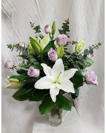 Rose and Lily Vase - Purple and White Flower Arrangement