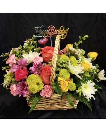 Birthday Basket Flower Arrangement